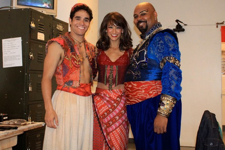 Adam Jacobs, Nikki Long, and James Monroe Iglehart