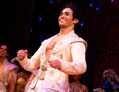 Adam Jacobs stars in the title role in Disney's Aladdin, directed by Casey Nicholaw, at the New Amsterdam Theatre. (© David Gordon)